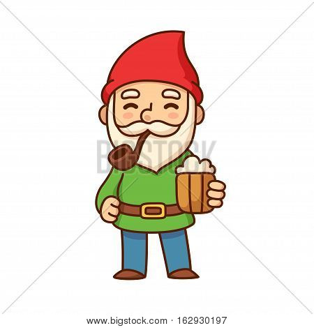 Cute old garden gnome with smoking pipe and beer cup. Funny cartoon illustration.