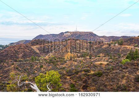LOS ANGELES CALIFORNIA - OCTOBER 27 2016: Hollywood sign under a blue sky with clouds California
