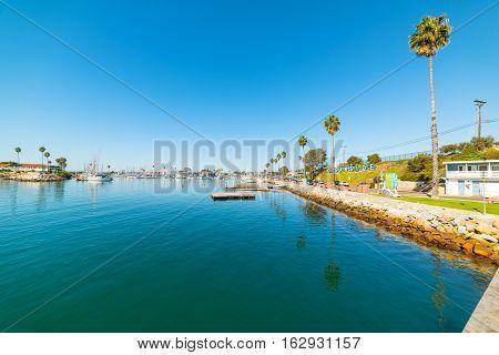 blue water in Oceanside harbor in California
