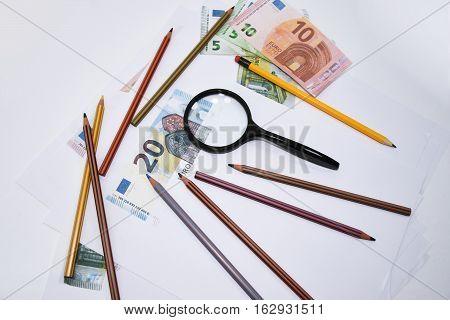 Making fake money. Drawing process of counterfeit money