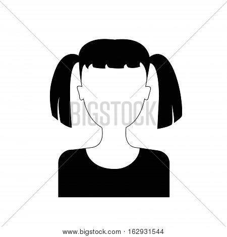 flat design faceless girl portrait icon vector illustration