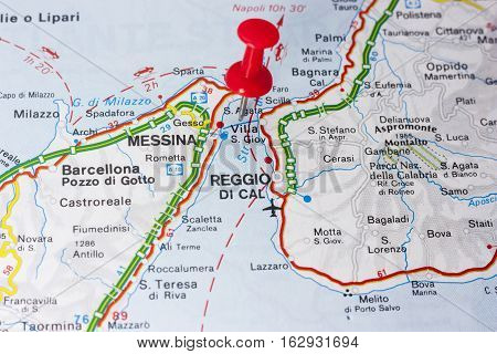 Closeup of Villa San Giovanni or the Strait of Messina Italy On A Map
