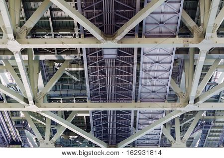 Under the bridged steel construction close up background and texture