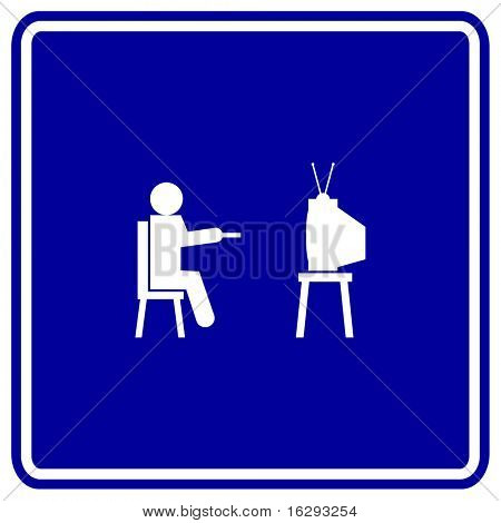 watching television sign