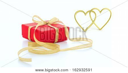 3D Rendering Joined Hearts And A Gift On White Background