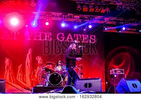 TOLMIN, SLOVENIA - JULY 28TH: SWEDISH MELODIC DEATH METAL BAND AT THE GATES PERFORMING AT METALDAYS FESTIVAL ON JULY 28TH, 2016 IN TOLMIN, SLOVENIA