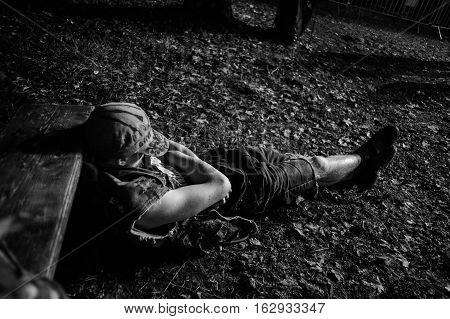 Tolmin, Slovenia - July 25th: Heavy Metal Fan sleeping at the Metaldays Festival on July 25th, 2016 in Tolmin, Slovenia