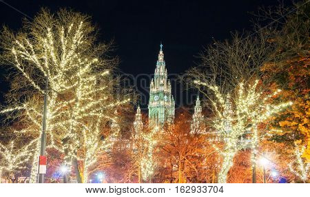 The Rathaus(City Hall)of Vienna and trees illuminated for ChristmasAustria.