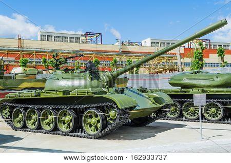 VERKHNYAYA PYSHMA RUSSIA - JUNE 11 2015: Russian Tank T-54B - exhibit of the Museum of military equipment.