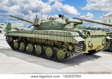 VERKHNYAYA PYSHMA RUSSIA - JUNE 11 2015: Russian Tank T-64 - exhibit of the Museum of military equipment.
