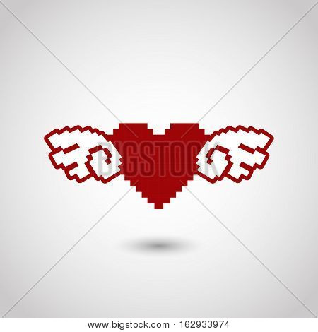 8; 8-bit; angel; art; bit; card; computer; day; decoration; eight; game; graphic; greeting; heart; icon; illustration; isolated; love; mosaic; pixel; pixelated; red; retro; romance; romantic; shape; sign; style; symbol; valentine; vector; video; white; wi