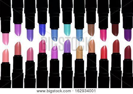 Set Of Color Lipsticks. Lipstick Set Isolated On White Background