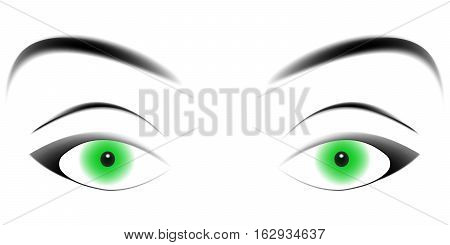 hypnotizing green eyes, enticing eyes with a loving gaze, a gaze vector template
