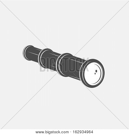 Vintage spyglass in black and white design