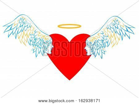 Heart with wings and a halo. Concept of love pattern for Valentines day