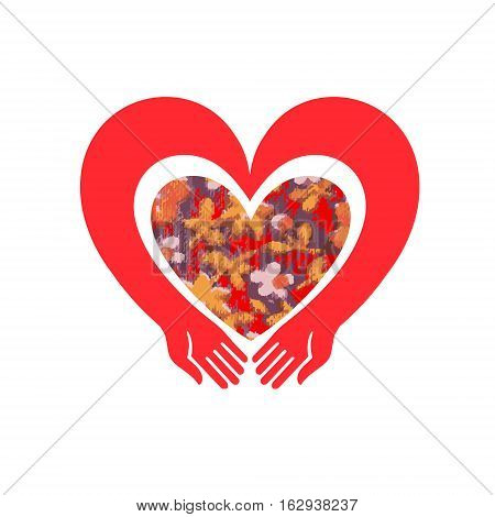 Pair of hands hugging floral heart. Cute vintage heart shape with flowers and leaves.