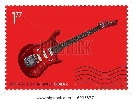 A fake post stamp shows image of retro guitar Fake series Vintage electronics.