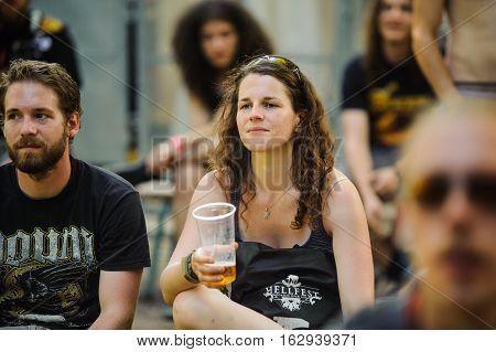 Tolmin, Slovenia - July 25th: Heavy Metal Fans enjoying the Metaldays Festival on July 25th, 2016 in Tolmin, Slovenia