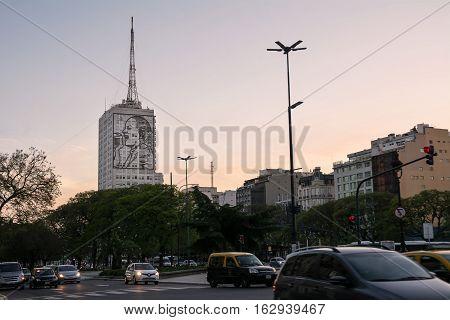 Buenos Aires Argentina - October 30 2016: Evita Peron drawing on a building on traffic in Avenida 9 de Julio
