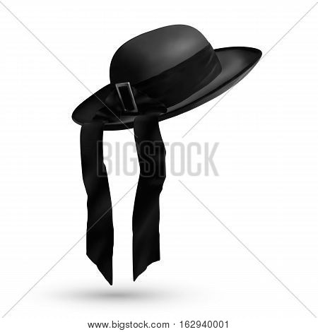 Vector breton traditional mens hat with ribbon isolated on white background