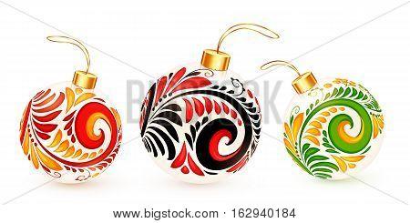 White vector Christmas balls with Russian khokhloma ornament