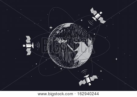 Satellites orbiting around the Earth.Hand drawn vector illustration