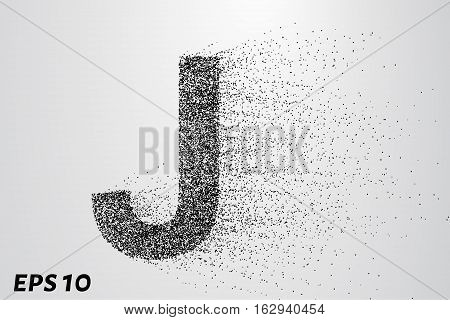 Letter J From The Particles. The Letter J Consists Of Circles And Points. Vector Illustration