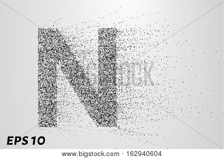Letter N From The Particles. The Letter N Consists Of Circles And Points. Vector Illustration