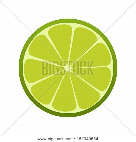 Green Lime Icon. Citrus. Refreshing Drink. Vector Illustration.