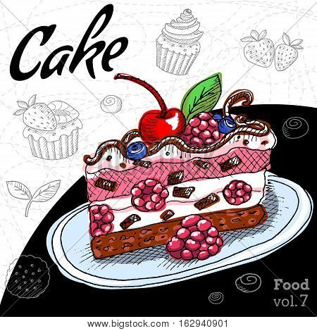 Set with desserts cake, cupcake. Hand drawn vector illustration. Dessert in Vintage style.
