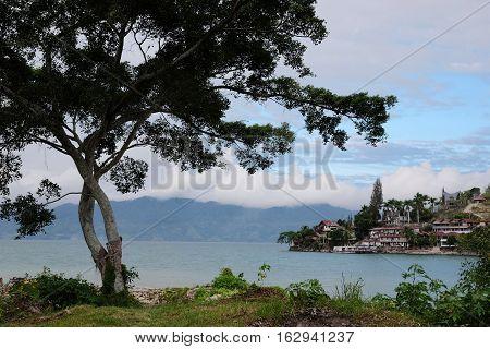 Lake Toba, View to Tuk-Tuk from Samosir Island, North Sumatra, Indonesia