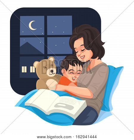 Mother tell story with her son at night Vector illustration.