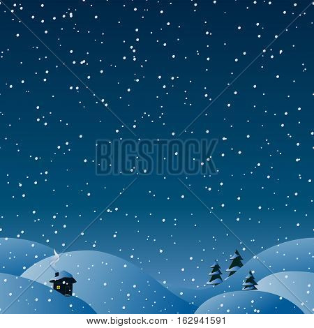 Seamless winter horizontal background for your christmas design. Snow hills in a snowfall time. Cozy house silhouette with smoke from the chimney and light in windows. Magic night.