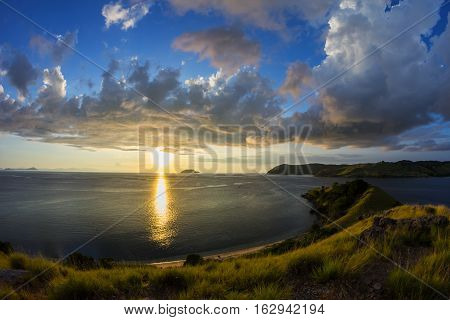 Sunset from the hill at Seraya Island, Flores, East Nusa Tenggara, Indonesia.