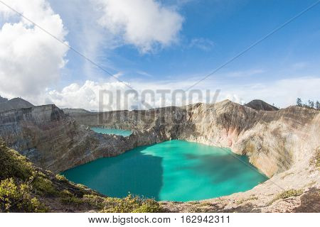 Kelimutu Volcano caldera and colored crater lakes, Flores, Indonesia