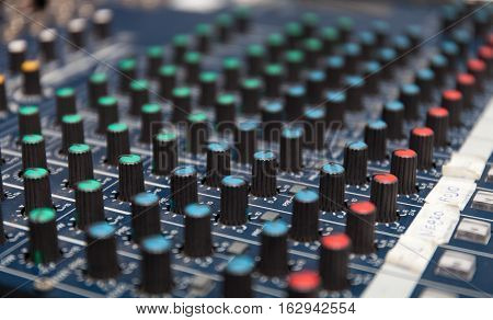Colorful sound mixer. Texture design. amplifier equipment. Stock photo
