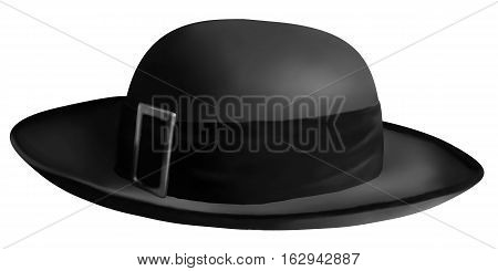 Black vector realistic classical breton men's hat - part of traditional costume of Brittany, France - isolated on white background