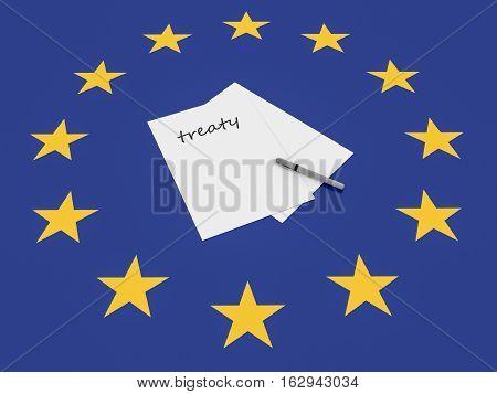 European Politics: Treaty Note On EU Flag 3d illustration