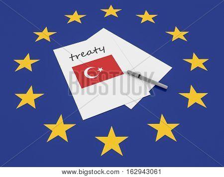 European Politics: Turkey Treaty Note On EU Flag 3d illustration