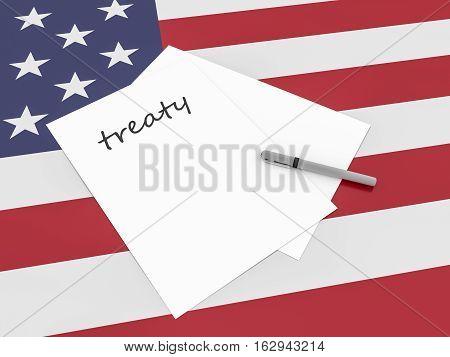 US Politics: Treaty Note On USA Flag 3d illustration