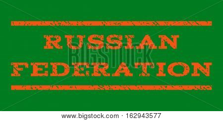 Russian Federation watermark stamp. Text tag between horizontal parallel lines with grunge design style. Rubber seal stamp with dirty texture. Vector orange color ink imprint on a green background.