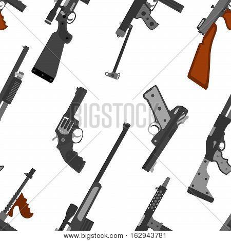 Pattern of guns. Machine gun, rifle, revolver, pistol, shotgun and sniper rifle. Weapon vector set