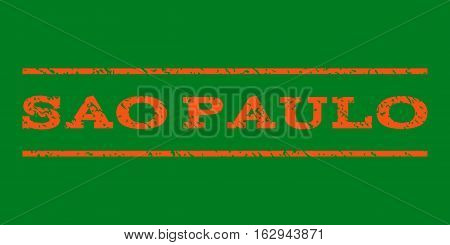 Sao Paulo watermark stamp. Text caption between horizontal parallel lines with grunge design style. Rubber seal stamp with unclean texture. Vector orange color ink imprint on a green background.