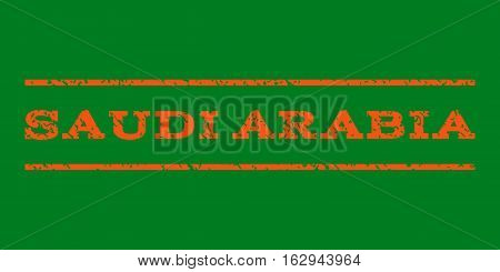 Saudi Arabia watermark stamp. Text caption between horizontal parallel lines with grunge design style. Rubber seal stamp with dirty texture. Vector orange color ink imprint on a green background.