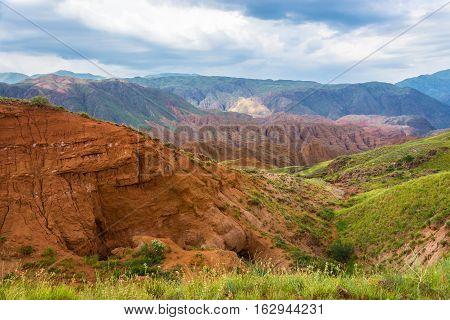 Beautiful Mountain Landscape In The Aeolian Mountains, Kyrgyzstan.