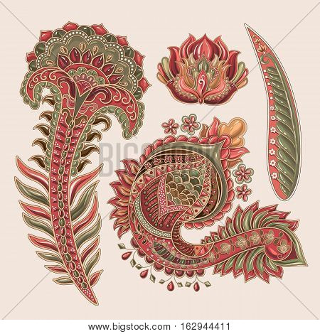 Set of Paisley flowers. Indian decorative elements