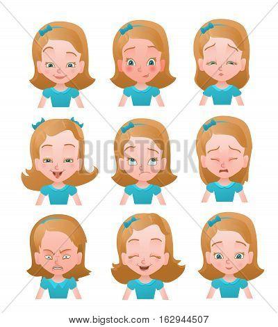 Girl emotions vector set.Emotion faces icons. Female emoji set. Cartoon characters vector illustration