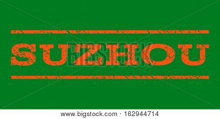 Suzhou watermark stamp. Text caption between horizontal parallel lines with grunge design style. Rubber seal stamp with unclean texture. Vector orange color ink imprint on a green background.