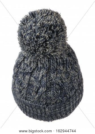 Women's Knitted Hat Isolated On White Background.hat With Pompon.motley Hat  .