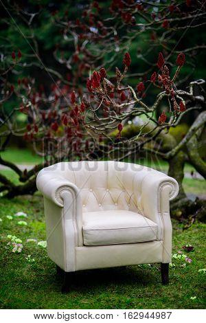 White luxury vintage sofa in the garden